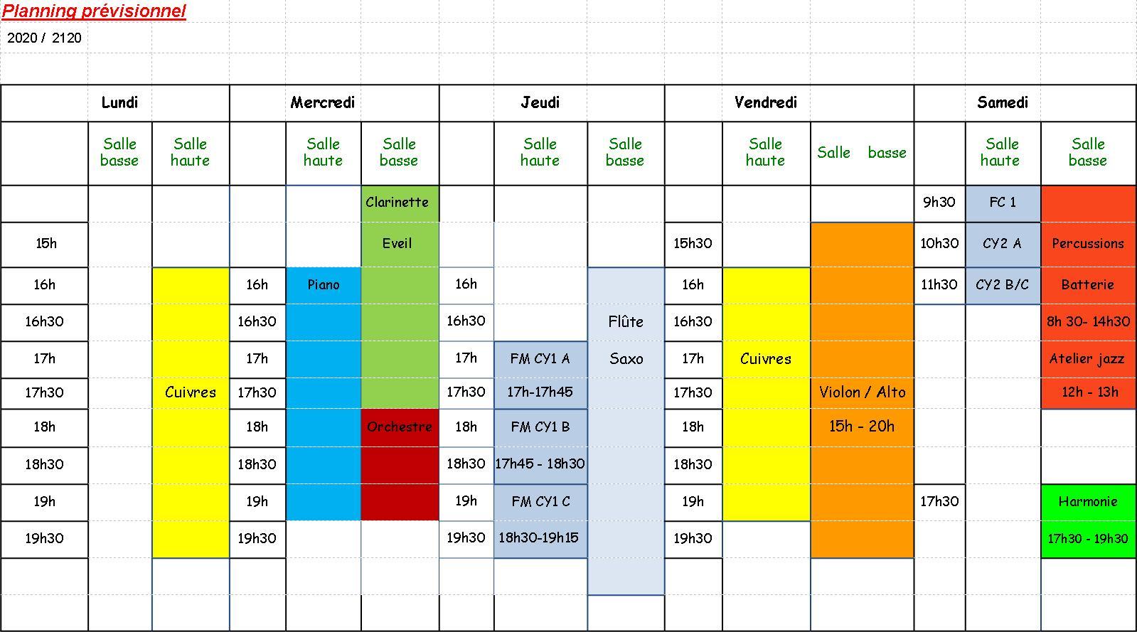 planning prévisionnel cours
